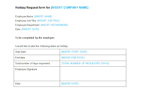 holiday request form template bizorb