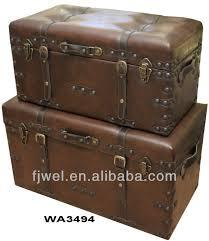vintage brown faux leather shoe storage ottoman trunks buy