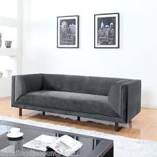 modern grey velvet mid century 3 seater sofa single long cushion