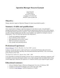 Resume Samples Business Management by Resume Examples For Operations Manager Free Resume Example And