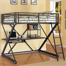 powell z bedroom full size metal loft bed with study desk