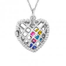 mothers pendants with birthstones mothers heart necklace accordion necklace