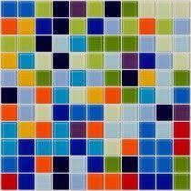 Colorful Tile Backsplash by Red Yellow Blue Orange Green And White Tile Kitchen Backboard