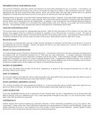 Financial Advisor Resume Examples by Financial Planning Services Contract