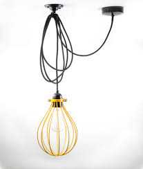 Hicks Pendant Knockoff Balloon American Mustard Yellow Cage Light Shade Industrial