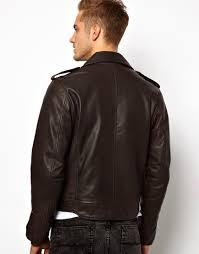 racing biker jacket asos leather biker jacket in black for men lyst