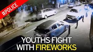 shocking footage of halloween yobs shooting firework that hit