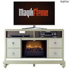 athena platinum silver media center electric fireplace wall