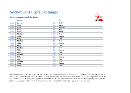 santa gift list secret santa gift exchange template word excel templates