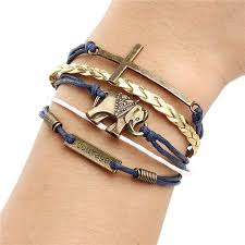 leather bracelet woman images Womens multilayer charm leather bracelet believe jewelry gift jpg