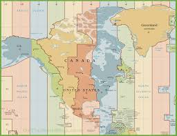 East Coast Time Zone Map by Time Zones Of North America Maps By Geo Earth Mapping
