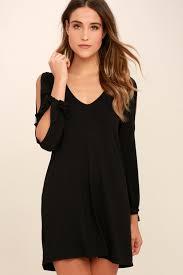 black shift dress black dress shift dress cold shoulder dress 36 00