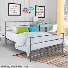 Steel Headboards For Beds Hodedah Metal Panel Bed In Black U0026 Silver Ebay