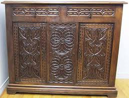 antique french gothic buffet in oak with intricate carving