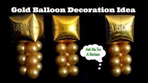 gold balloon decoration idea 50th birthday anniversary baby