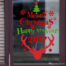 Decoration Happy New Year 2017 Merry Christmas And Happy New Year Window New Festival Shop