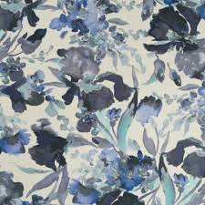 Robert Allen Home Decor Fabric Robert Allen Twin Waters Watercolor Floral Cotton Linen Print