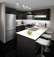 grey kitchen cabinets with white countertops glossy tile floor