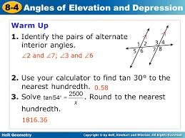 Interior Angles Calculator Holt Geometry 8 4 Angles Of Elevation And Depression Warm Up 1