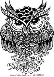owl with tribal ornament vector illustration buhos