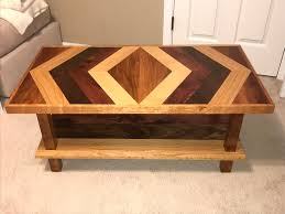 bench consists on cherry maple cedar walnut and red oak