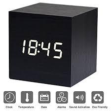sveglia comodino sveglia digitale cubo legno led scrivania comodino xagoo alarm