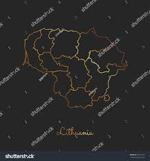 Map Of Lithuania Lithuania Region Map Golden Gradient Outline Stock Vector