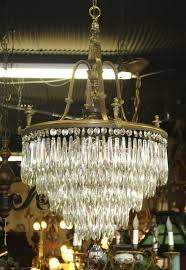 Brass Antique Chandelier 217 Lead Crystals Glimmer And Shine On This Solid Brass Antique