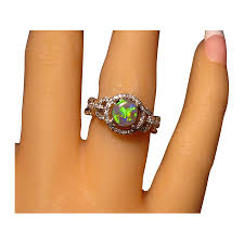 turquoise opal engagement rings round black opal diamond ring 14k gold flashopal
