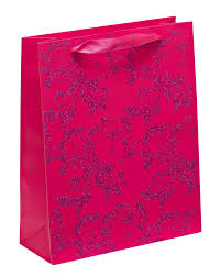 luxury pink glitter paper gift bag large x 1pc my carrier bag