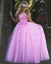 2016 pink christmas prom dresses ball gown indian style flower