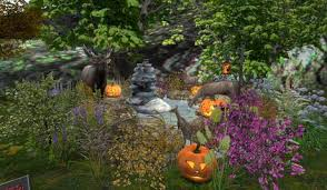 second life marketplace cj halloween fall pond full of flowers