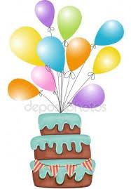 palloncini clipart clipart di una torta di compleanno e palloncini vettoriali stock