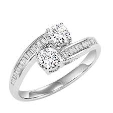 set ring diamond two ring with channel set emerald diamonds in 14k
