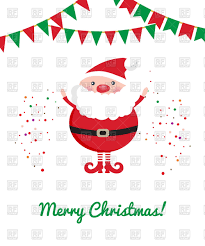 cute santa claus party bunting and confetti christmas card