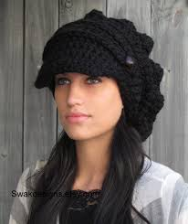 free pattern newsboy cap swakcouture black slouchy hat womens hat two button band newsboy
