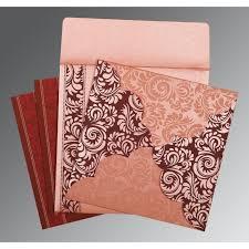 Islamic Wedding Invitation Pink Shimmery Floral Themed Screen Printed Wedding Invitations