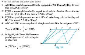class 9 important questions for maths u2013 areas of parallelograms