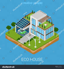 flat 3d isometric green eco friendly stock vector 318489293