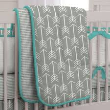 Teal Crib Bedding Set Gray And Teal Arrow Three Crib Bedding Set By Carousel