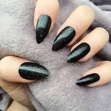 most amazing black matte nails with sparkling paint picsmine