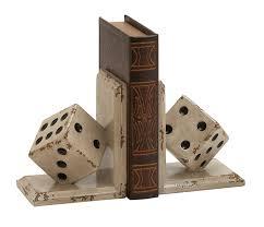 unique bookends benzara and unique wood dice bookend polyresin