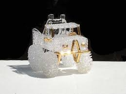 custom hand blown glass 4x4 four wheel drive truck wedding cake top 15