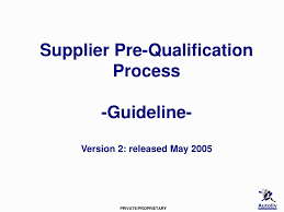 ppt supplier pre qualification process guideline version 2