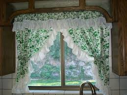 simple traditional kitchen curtain ideas with nice white and green
