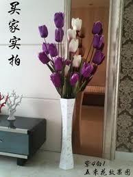 White Tall Vases Tall Vases Sitting Room Fake Flower Vase Landing 60 Cm Wooden