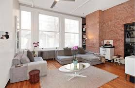 indoor brick wall family room modern with sectional contemporary