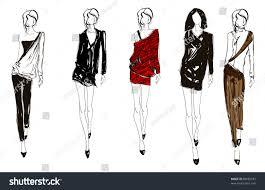 sketch fashion handdrawn fashion model stock vector 89682532