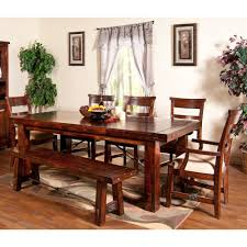 vineyard wood rectangular dining table u0026 chairs in rustic mahogany