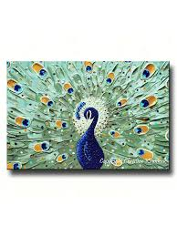 custom abstract painting peacock modern textured fine art sapphire